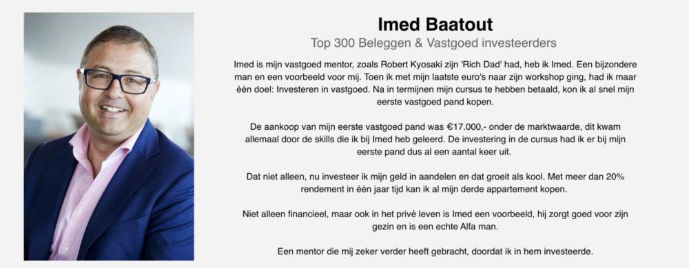 Getuigenis René Cooiman over Imed Baatout en zijn cursus masterclass Succesvol Investeren in vastgoed en aandelen.
